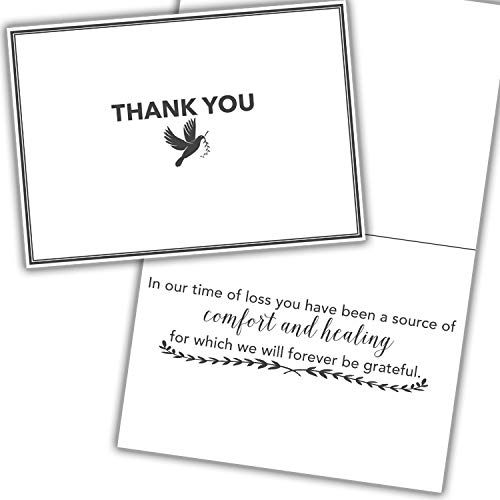 Funeral Sympathy Thank You Cards - 36 Cards + Envelopes Included For Expressing Gratitude to Friends, Family, & Loved Ones