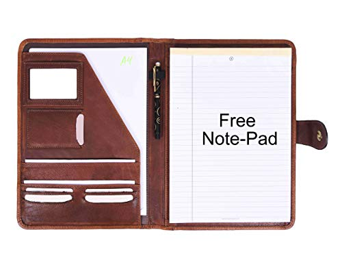 Leather Travel Portfolio | Professional Organizer Men & Women | Tablet Holder Leather Padfolio with Sleeves for documents and Ipad by Aaron Leather (Walnut)