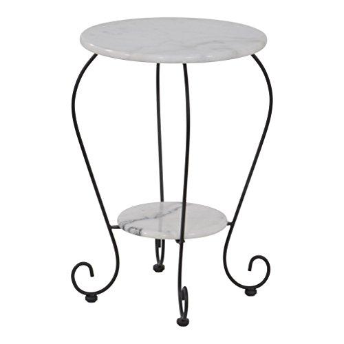Lesli Living Beistelltisch Marmor Marmortisch Bistrotisch Garten Tisch weiß Ø25cm/Ø41cm x 59cm
