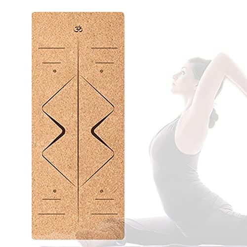 Esterilla Yoga Deporte Colchoneta de 183cm x 66cm x 4mm Fitness Antideslizante con Material ecológico TPE con líneas corporales Yoga Mat/C