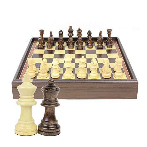 L.J.JZDY Schachbrett Grad Holzschach Set Tragbares Spiel der Holzkiste Sammlung Tisch Schach Internationaler Schach Kinder Geschenke Branchen Spiele