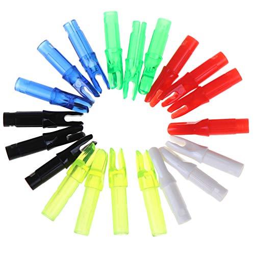 CLISPEED 20 Stück Bogenschießen Pfeile Nocken Kunststoffeinsatz Schwanz Bogenschießen Jagd Compound Bogen Pfeil Schwanz Zubehör für Die Jagd Ziel Gemischte Farbe