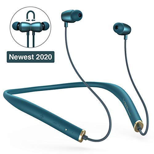 Bluetooth Headphones, SANAG Wireless Earphones Hanging Neck Bluetooth 5.0 Headsets, HiFi Sports in-Ear Earbuds for Fitness Running Long-Lasting Standby with Mic HD Stereo Earbuds-Mint Green