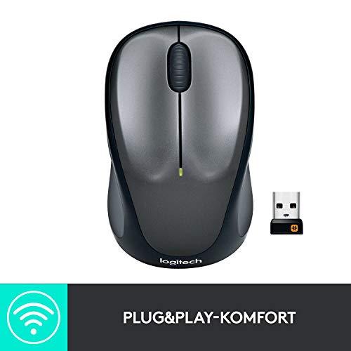 Logitech M235 Kabellose Maus, 2.4 GHz Verbindung via Unifying USB-Empfänger, 1000 DPI Sensor, 12-Monate Akkulaufzeit, PC/Mac - Grau/Schwarz