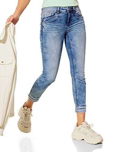 Street One Pantalones vaqueros ajustados para mujer. Light Indigo Vintage Wash 38