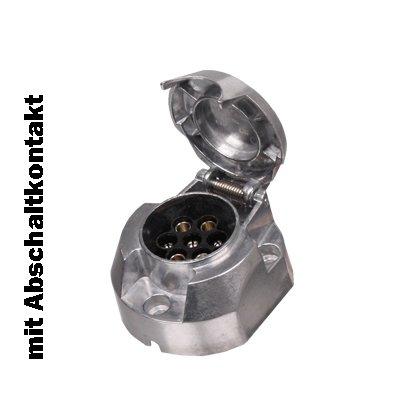 Steckdose 7-polig Aluminium mit Abschaltkontakt für Nebelschlussleuchte - Anhänger - Stecker - Steckdose - Anhängerstecker