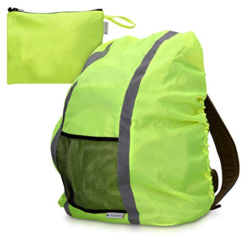 Navaris Regenschutz Rucksack Schulranzen Regenhülle - 65x75 cm Schutzhülle für Ranzen reflektierend wasserdicht - Regenschutzhülle in Neon Gelb