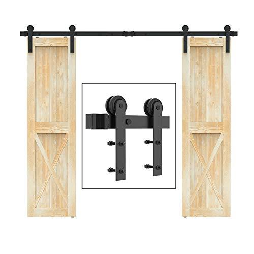 SANKEYTEW 8ft Sliding Barn Door Hardware Kit Double Door, Heavy Duty Sturdy, Fit 1 3/8-1 3/4' Thickness & 24' Wide Door Panel, Black(I Shape Hanger)