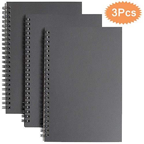 Espiral Cuaderno de Bocetos A5, Pack de 3 Cuaderno de Dibujo Bloc de Notas en Blanco,100 Páginas / 50 Hojas - Perfecto para Viajar Dibujo Artístico (Negro)