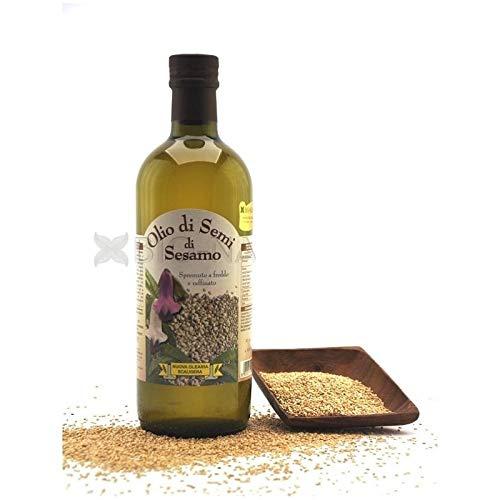 Olio di SESAMO Pressato a Freddo 1 L, no OGM, Vegano, prodotto in ITALIA, adatto a massaggio ayurveda