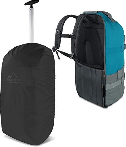 normani Reisetasche mit Rucksackfunktion und Regenüberzug- Trolley 60 Liter - Backpack Farbe Grau/Petrol