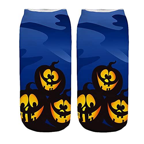 YWLINK Calcetines De Negocios De Trabajo 3D Halloween Patrones De ImpresióN Medianos Calcetines De Tobillo Calcetines Antideslizante Suave Y Transpirable Calcetines De AlgodóN (G1, M)