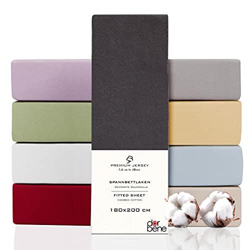 DarBene Spannbettlaken 180x200 Premium , Jersey 100% gekämmte Premium Baumwolle, Blickdicht, superweiches Bettlaken bis 25 cm Matratzenhöhe, Oeko-TEX, Anthrazit