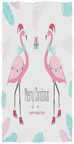 OCEAN AN Chic Christmas Style Flamingo Soft Toallas Decorativas Grandes para Manos 27.5x15.7 Pulgadas