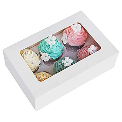 Cupcake Boxes with Inserts 6 Holders,9x6x3inch Large White Standard Bakery Boxes with Window Food Grade Cake Carrier Container for Muffins,Gift Treat Box Bulk,Pack of 15 by LanYang