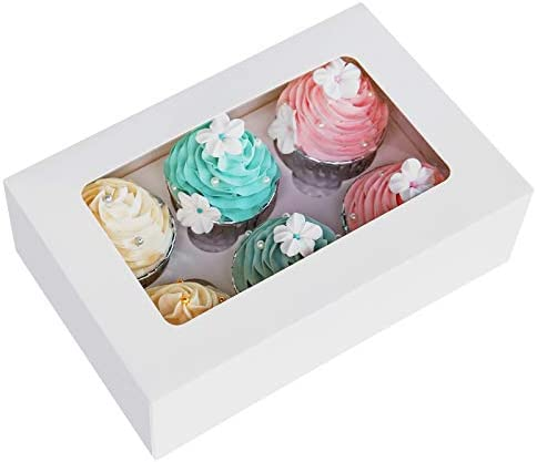Cupcake Boxes with Inserts 6 Holders 9x6x3inch Large White Standard Bakery Boxes with Window product image