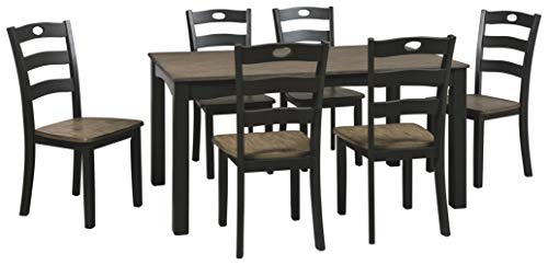 Signature Design By Ashley - Froshburg Dining Room Table Set of 7 - Casual Style - Grayish Brown/Black Dark Brown Dining Set