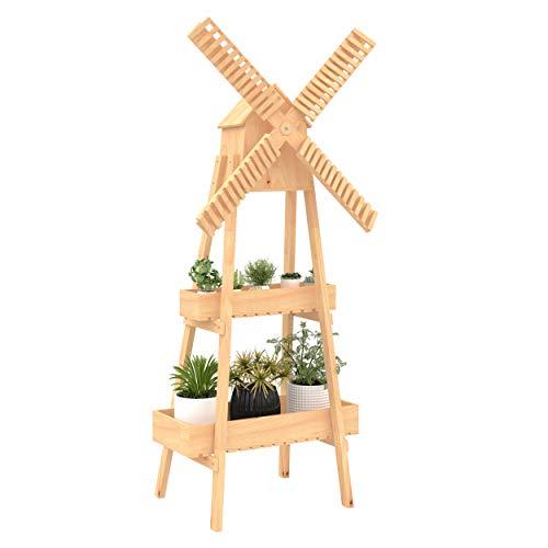 Outsunny Pflanzentreppe Windmühle Blumenständer Bambusblumenregal Garten Holz Natur 80 x 44 x 154 cm