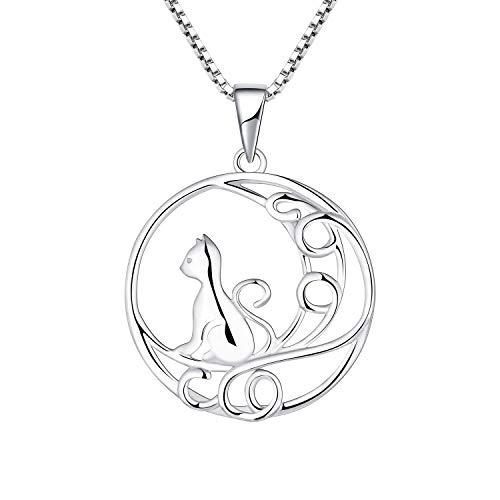 YL Colgante Gato Mujer Plata de Ley 925, Joyeria Collares Colgante collar Gato y Luna