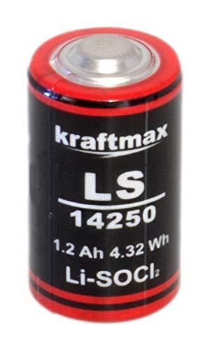 Hückmann 133751 Kraftmax lithium 3,6 V batterij LS14250 (-55 °C tot +85 °C, LiSOCI2, 3,6 V, 1200 mAh)
