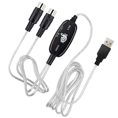 OSALADI MIDI zu USB-Kabel MIDI-Schnittstelle In-Out zu USB-Konverter MIDI-Adapter Musikkonverter Anschluss Zubehör für Instrumente Soundkarte Computer (Silber Schwarz)