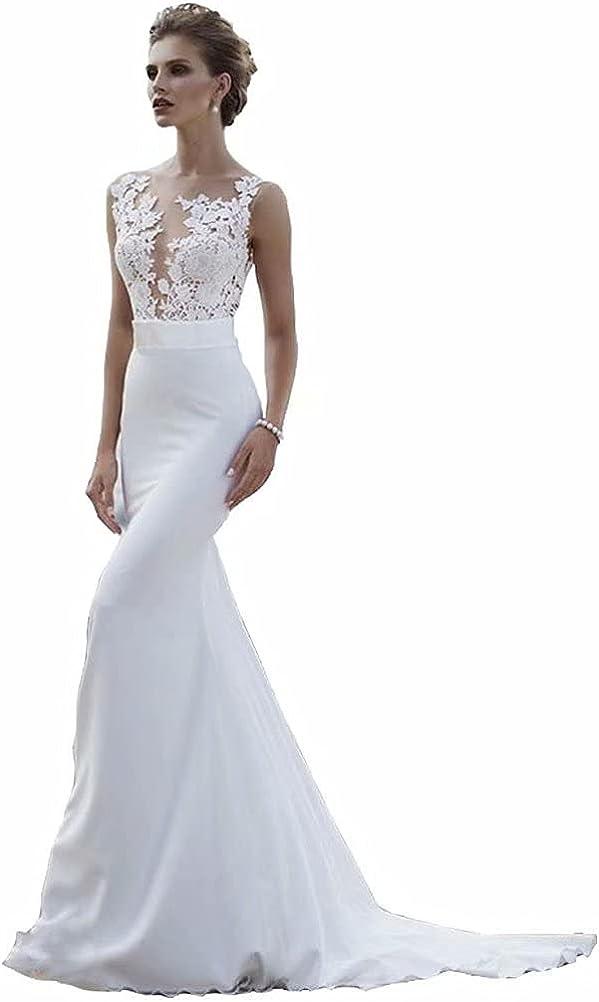 Seasail Beach Wedding Dresses 2021 Boho Mermaid Wedding Gown Scoop Lace Princess Bride Dress Custom