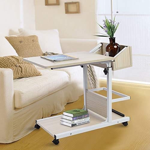 Escritorio extraíble para ordenador portátil, mesa para ordenador portátil, escritorio con ruedas, mesa para sobrecama, mesa portátil, altura ajustable de 50 a 80 cm (blanco)