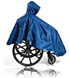 Comfort Finds Wheelchair Summer Poncho – Adult Elderly Seniors Wheelchair Cape – Durable Quality Poly/Cotton Lined - Full Waterproof Coverage Zip Front Hood (Single Pack, Navy)