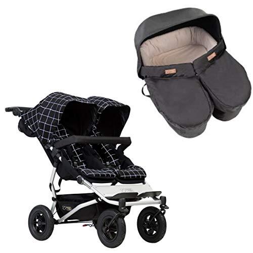 Mountain Buggy Duet Grid + Bañera para bebés gemelos negro.