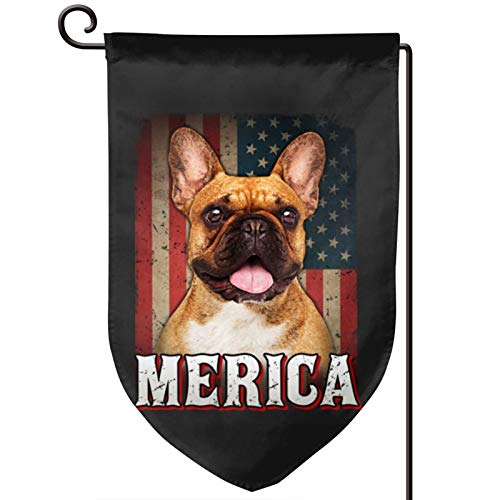 Voglawear Frenchie Bulldog American Flag Garden Flag Double Sided Bunting for Indoor Outdoor Home Garden Yard Decoration