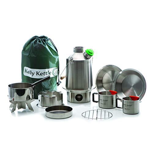Ultimate ' Scout ' Kelly Kettle - Kit Valor Deal ( Incluye 1.2 Litros Acero Inoxidable ' ' Tetera Camping + Verde Silbato + Cook Set + Hobo Estufa + Camp Tazas (2pcs) + Platos + Maceta Soporte + Bolsa