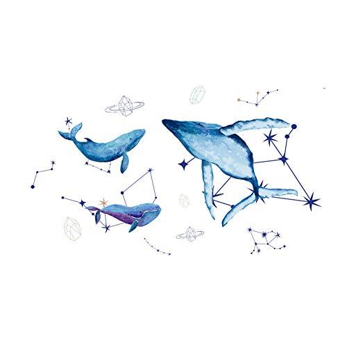 Winhappyhome Wandaufkleber mit blauem Delfin und Sternbild