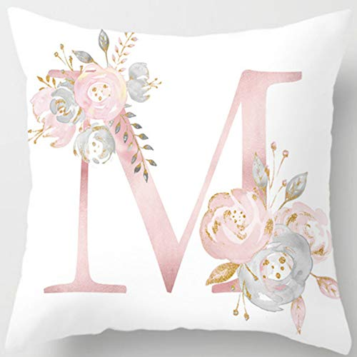 Eanpet Throw Pillow Covers Alphabet Decorative Pillow Cases ABC Letter Flowers Cushion Covers 18 x 18 Inch Square Pillow Protectors for Sofa Couch Bedroom Car Chair Home Decor (M)