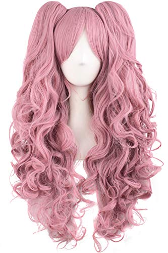 """MapofBeauty 28""""/70cm Lolita Long Curly Clip on Ponytails Cosplay Wig (Rouge Pink)"""