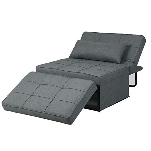 Diophros Ottoman Sleeper Sofa Bed, 4 in 1 Convertible Chair Multi-Function Folding Guest Sofa Chair for Living Room, Apartment (Deep Grey)