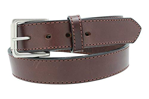 Heavy Duty Concealed Carry CCW Leather Stitched Gun Belt, 14 oz (54, Brown)