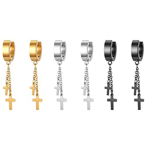 JewelryWe Schmuck 3 Paare Ohrringe Herren Damen Edelstahl Creolen mit doppelt Kreuz Kette Anhänger Ohrstecker Ohrhänger Piercing, Schwarz Gold Silber