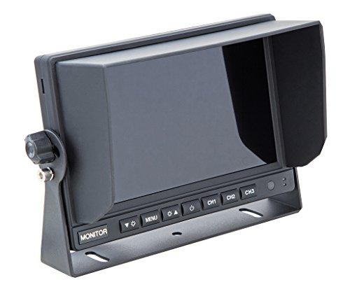 "VSG24 13163 – 7"" 720P-HD LKW Rückfahrmonitor, Heavy Duty, Monitor inkl. Adapterkabel, e-Zulassung, Nachtsicht, 3 x AV IN, 12-24 V"