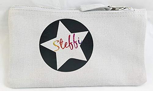 Kosmetiktasche mit Stern und Wunschname. Prima Idee als personalisiertes Geschenk mit Namen.