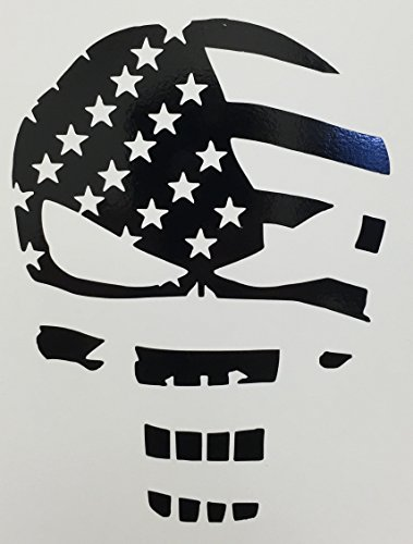 CMI280 Skull Punisher Flag Decal Sticker | Black Vinyl