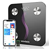 VAVSEA 体重計 スマホ連動 体組成計 bluetooth対応 はかり スマートスケール 体重/体脂肪率/体水分率/基礎代謝量/内臓脂肪/BMIなど iOS/Androidアプリで肥満予防・体重管理 日本語取扱説明書(電池付属)