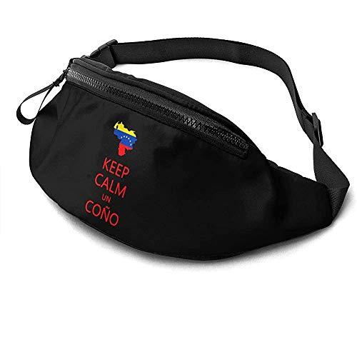 NA Gardez Le Calme Un Cono Sos Venezuela Runner's Fanny Bag Waist Pack Sangles Réglables Poche avec Prise Casque pour Unisexe