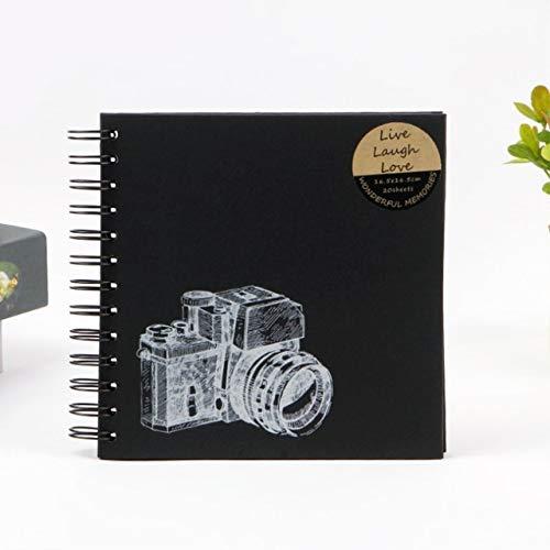 MANWEI Albumes Fotos Álbum De Fotos De La Cámara DIY Papel Kraft Cartón Negro Álbum De Fotos Personalidad Cubierta De Papel Especial Álbum De Graduación, 23.5X18Cm