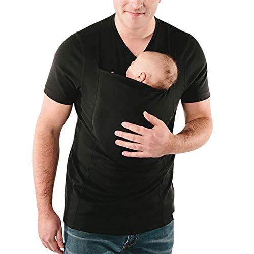 ZAYZ Jacken für Schwangere Känguru-T-Shirt, Kurzarm Herren-Beruhigungsweste, Die Beste Wahl für Väter Aufgrund Seiner Bequemlichkeit (Color : Black, Size : XXXX-Large)