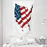 ABAKUHAUS Weltkarte Wandteppich & Tagesdecke, Vereinigte Staaten kennzeichnen, aus Weiches Mikrofaser Stoff Dreck abweichender Digitaldruck, 140 x 230 cm, Weiß Rot Blau
