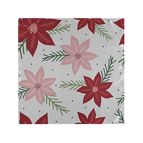HYTCSY Coffee Napkins Red Flower Poinsettia Dinner Napkins Cloth 20 X 20 Inch for Family Dinners,Weddings,Cocktail,Kitchen Tableware Decoration