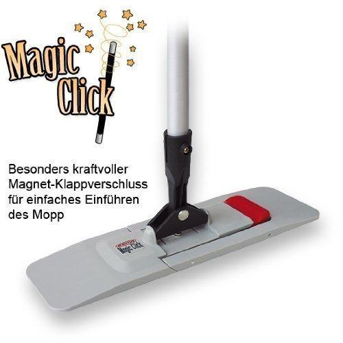 "CleanSV Mopset - 2 x Wischmops ( 1 x Baumwollmop - 1 x Microfasermop blau weiss) + Magnetklapphalter \""Magic Click\"" / WISCHSET 3 -- 40 cm (40)"