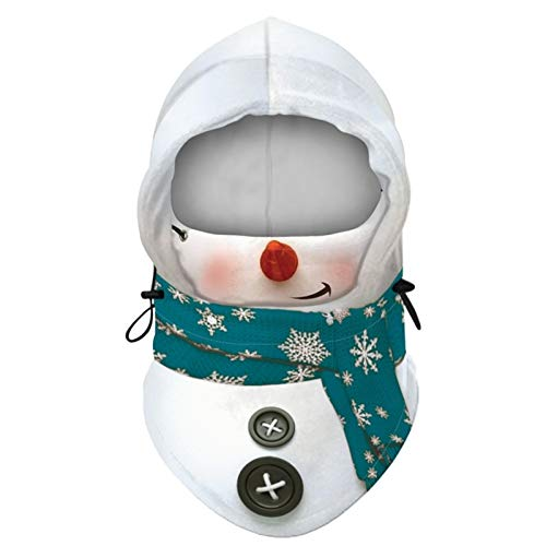 Christmas Balaclava Windproof Ski Face Mask Cartoon Santa Claus Snowman Cosplay Hooded Hat Winter Warm Velvet Neck Earflap Cap (Color : 2)