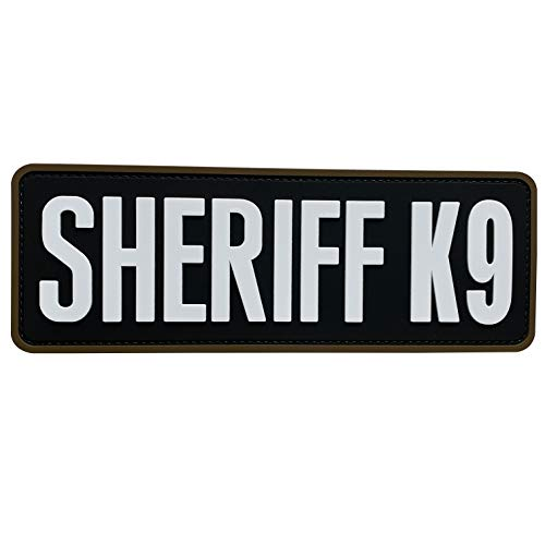 uuKen Sheriff K9 Patch Black and White 8.5x3 inch PVC Patch for Tactical Vest Plate Carrier Military Police Bag Backpack (Black and White, L 8.5'x3')