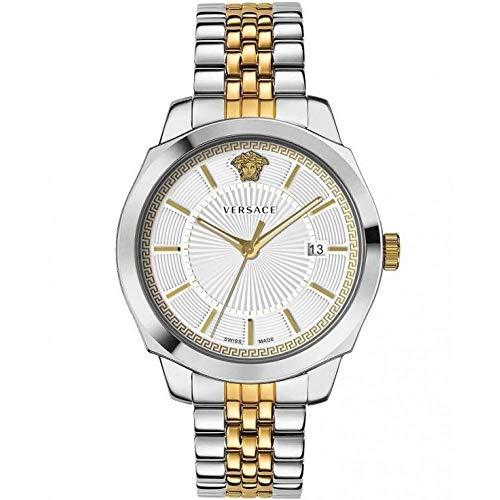 Montre Versace Icon Classic pour homme argent or acier cadran blanc 42 mm VEV900419